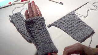 Repeat youtube video Fingerless Gloves - Eyelet Mock Cable Ribbing Stitch - Fingerless Mitts