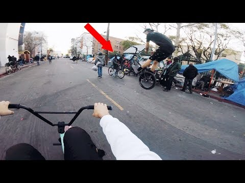 WE RODE BMX THROUGH SKID ROW AND SAW THIS.. *gross*