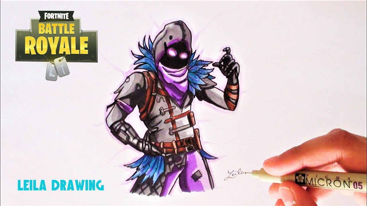 Dessin du skin raven fortnite 2 youtube - Dessin corbeau facile ...