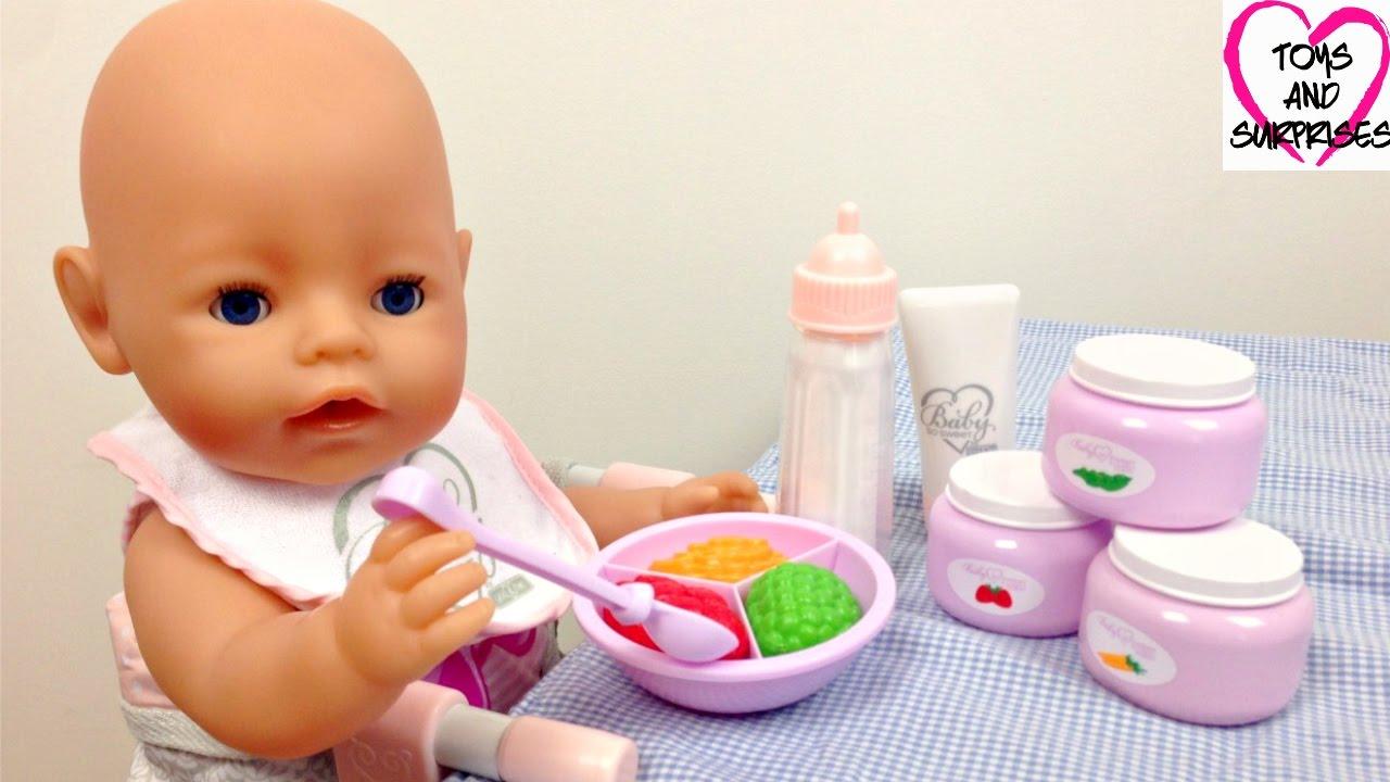 Видео для девочек с куклой Пупсик Baby Born играем кормим ...