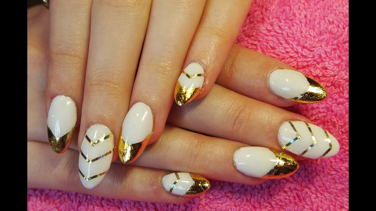 edgy white amp gold nails using nail foil youtube