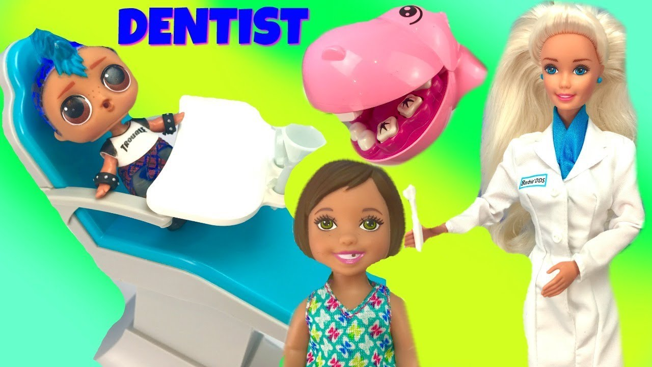 LOL Surprise Doll Punk Boi Hides from the Barbie Dentist
