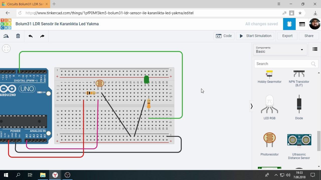 Download Tinkercad ile Arduino Bölüm 31 :  LDR ile Karanlıkta Led Yakma