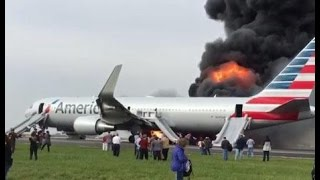AMERICAN AIRLINES PLANE ENGINE CATCHES FIRE AT CHICAGO'S O'HARE AIRPORT & 5 People Injured.Video.