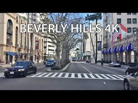 Driving Downtown - Beverly Hills CA USA 4K