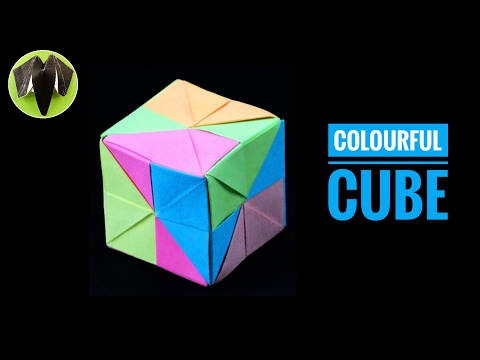 Colourful Cube - DIY Modular Origami Tutorial by Paper Folds