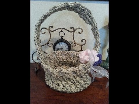 Crochet Easy Easter Basket With Long Handles Diy Tutorial Youtube
