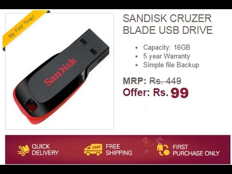 a7abe788710 Ebay – Buy Sandisk 16GB Pendrive For Rs 99 (New Users) - YouTube