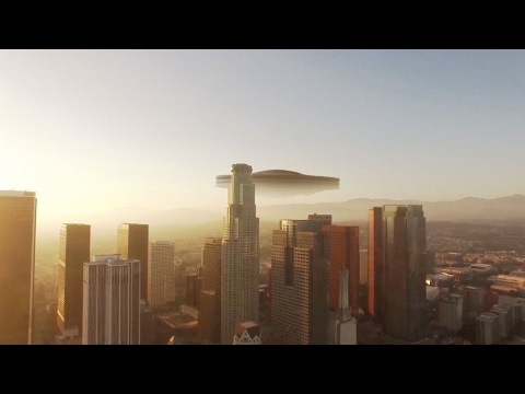 Giant UFO in the sky of California (CGI)