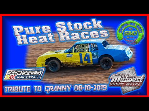 S03-E387 Pure Stocks Heat Races - Tribute to Granny Springfield Raceway 08-10-2019 #DirtTrackRacing