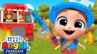 Feu au camping! Les pompiers arrivent - Comptines pour bébé   Little Angel Français