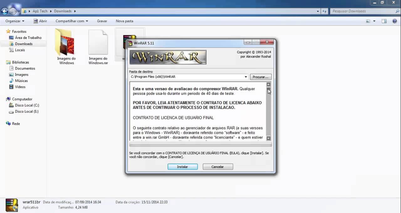como instalar o winrar no windows 7