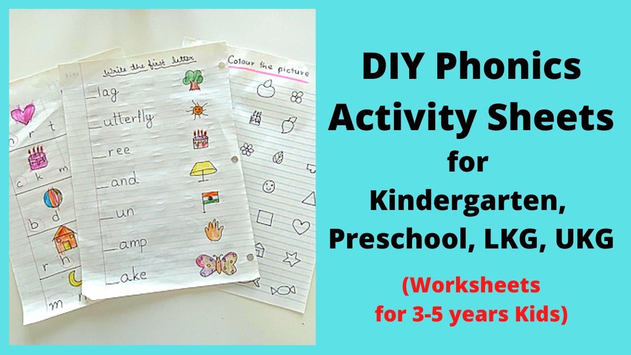 Phonics Worksheets For Kindergarten Lkg Ukg Preschool Diy Phonics Activity Sheets For 4 6 Years Youtube