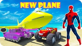 SPIDERMAN COLORS PARTY VS NEW TANK & MCQUEEN CAR & BIG PLANE l Nursery Rhymes for Kids