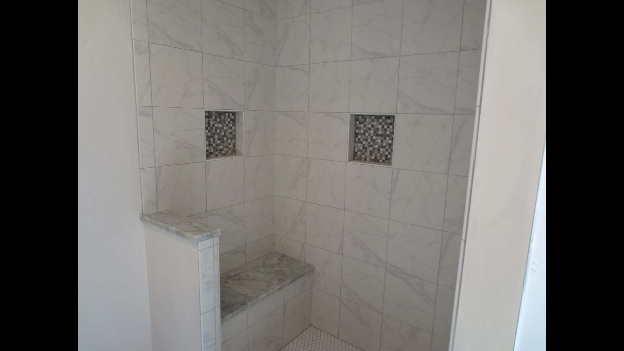 Tile shower stall installation, waterproofing, bench seat, wall tile ...