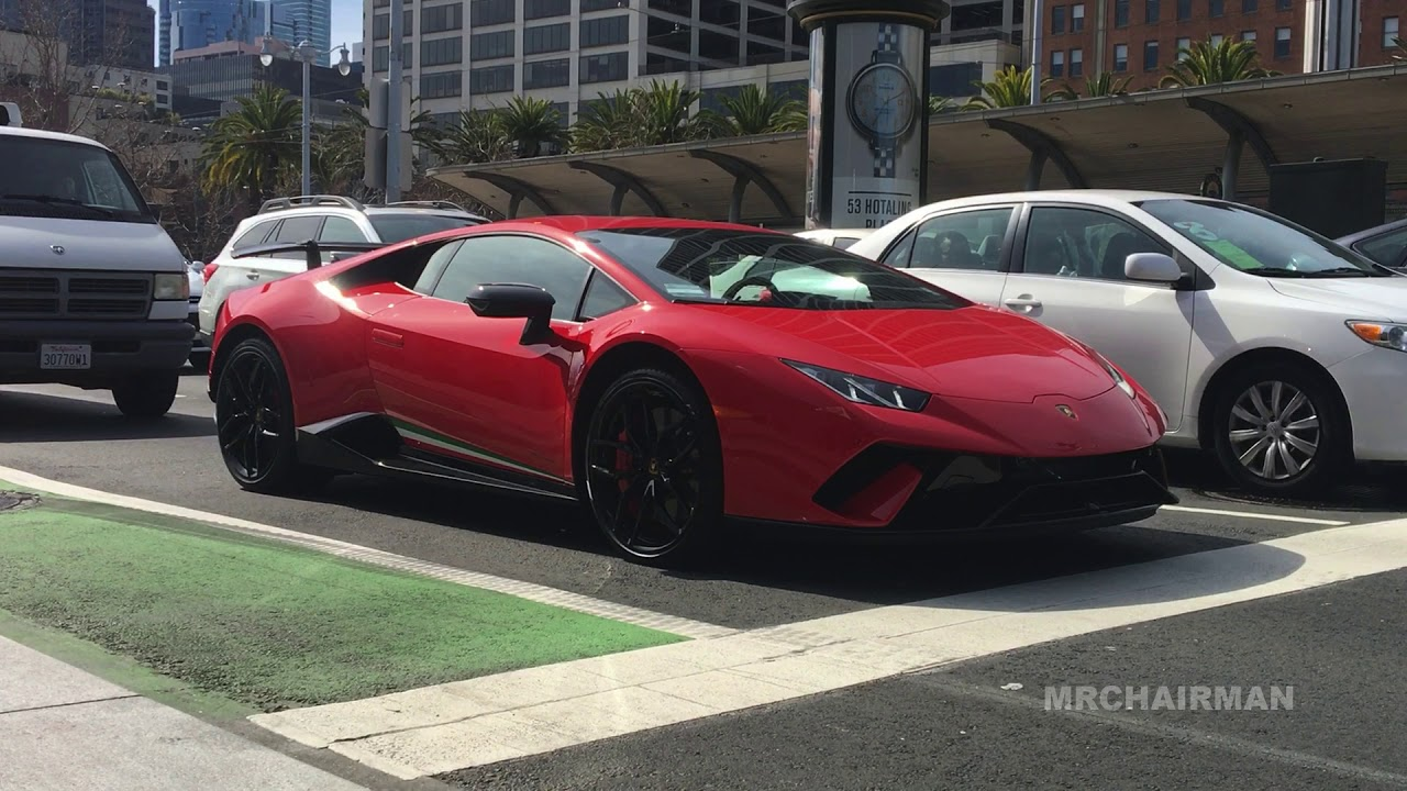 2018 Lamborghini Huracan Performante Rosso Bia Red Spotted HD and Sound