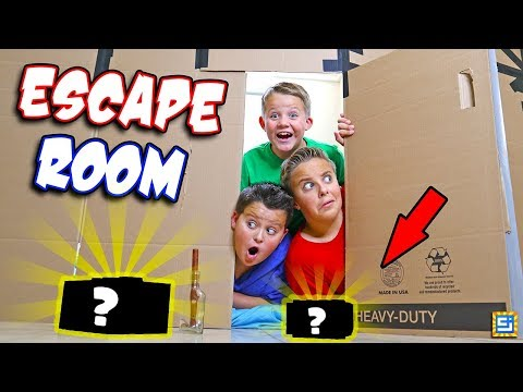 24 Hours Surprise Mystery Escape Room Giant Box Fort Challenge!