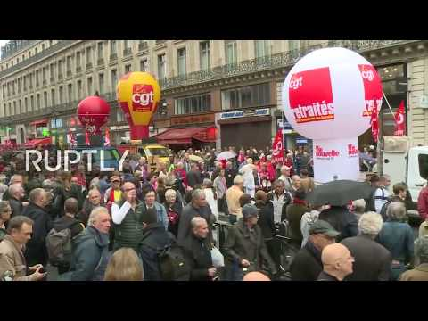 LIVE: Pensioners protest against government in Paris