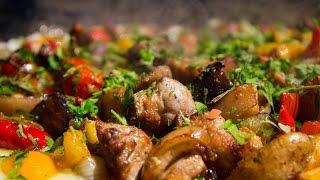 Свинина на диске с овощами / Pork with vegetables on disk