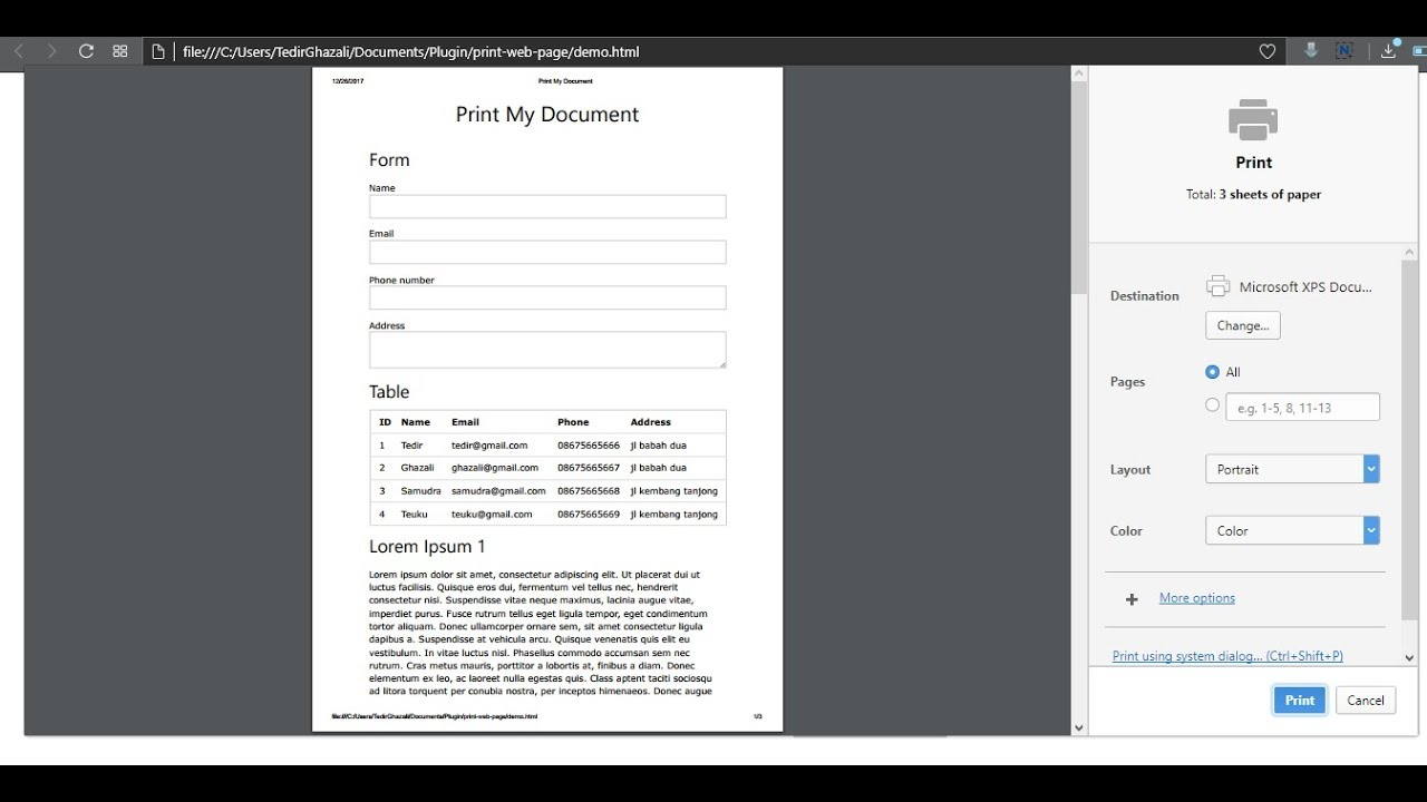 Print Web Page with jQuery