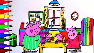 PEPPA PIG Coloring Book Pages Rainbow Kitchen Kids Fun Art Learning Videos Kids Balloons Toys