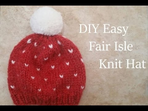 Diy Knit Chunky Fair Isle Hat Fast Easy Youtube