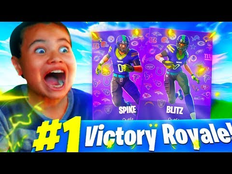 *SURPRISING* MY LITTLE BROTHER WITH THE NFL FOOTBALL SKINS! *EMOTIONAL* FORTNITE BATTLE ROYALE