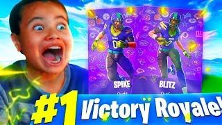 'SURPRISING' MY LITTLE BROTHER WITH THE NFL FOOTBALL SKINS! 'ÉMOTIONNEL' FORTNITE BATTLE ROYALE