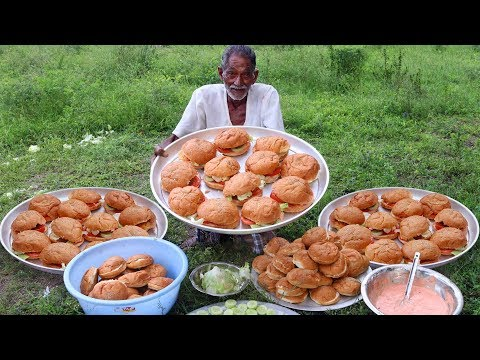 Hamburger Recipe | Crispy Chicken hamburger By Our Grandpa for Orphan Kids