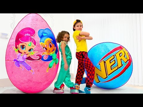 Giant surprise eggs with toys for boys and Shimmer and Shine dolls for girls