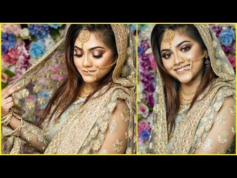 Simple & Elegant Akdh/Bridal Makeup Tutorial   Halo Smokey eyes+Nude Lips  Raisa Naushin