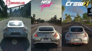 DriveClub vs Need for Speed Heat vs The Crew 2 - Nissan 370Z Nismo Sound Comparison