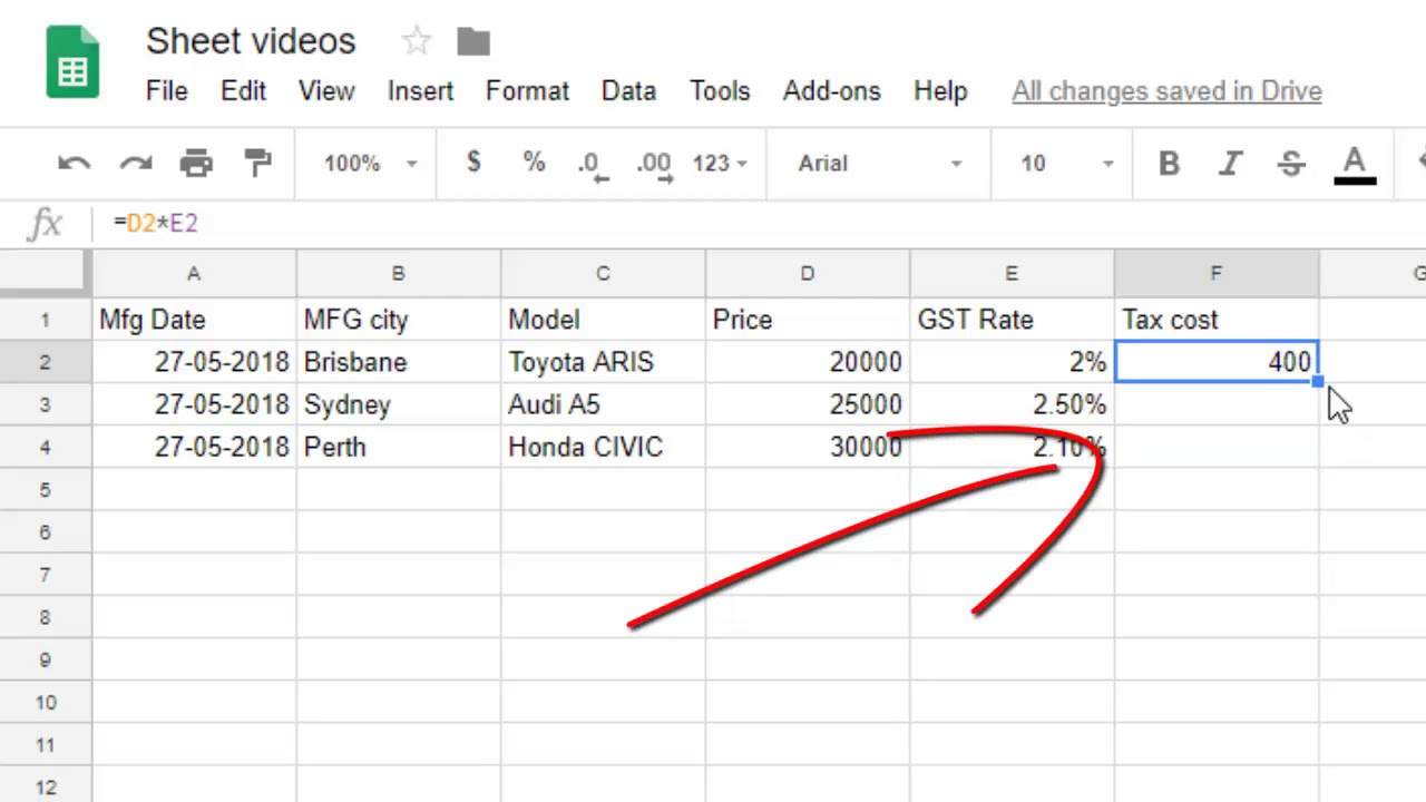 How To Autofill In Google Sheets How To Drag Formula In Google Sheets How To Fill Down Series Youtube Google spreadsheet fill down formula