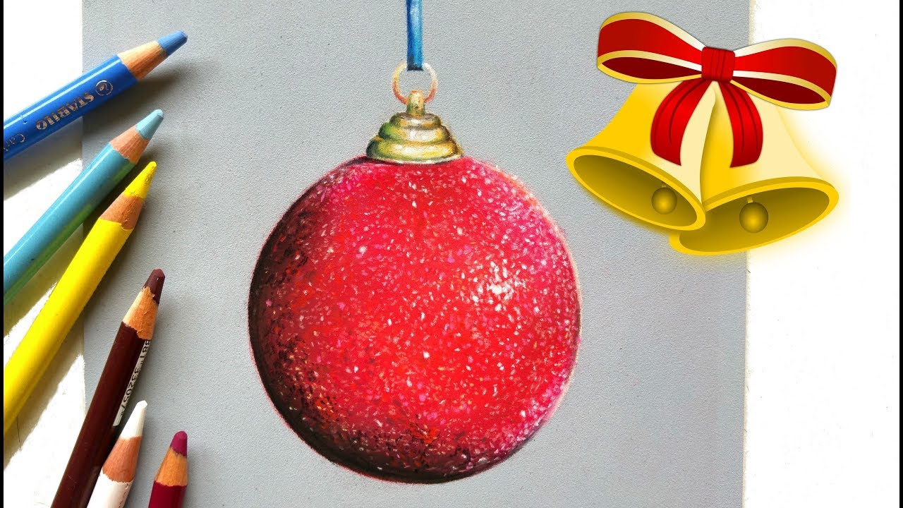 Speed drawing! Christmas ornament with pastel pencils ...