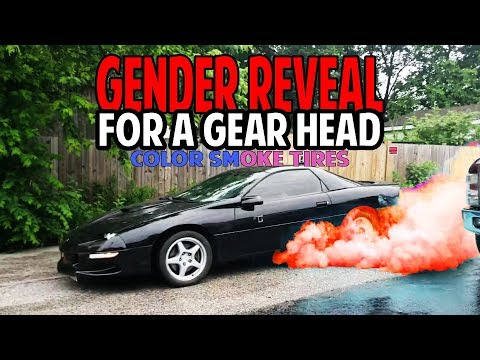 Gender Reveal Burnout With Colored Smoke Tires