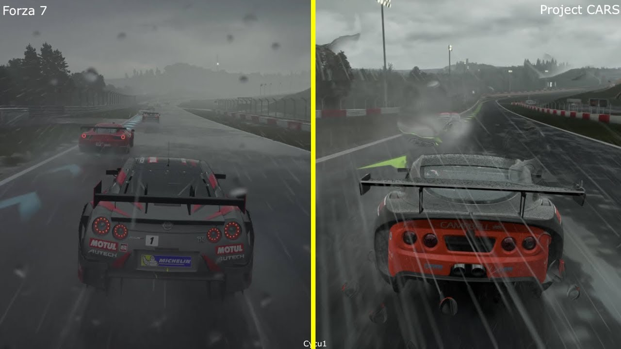 forza 7 vs project cars xbox one x vs ps4 pro 4k rain. Black Bedroom Furniture Sets. Home Design Ideas