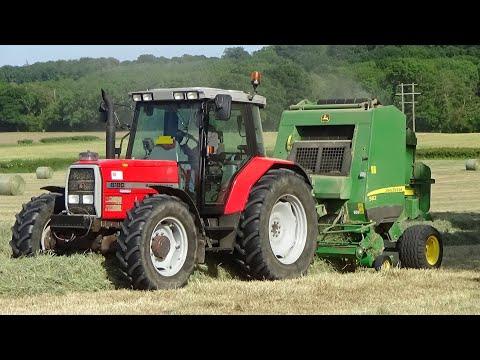 Baling For Haylage With Massey Ferguson 6180 U0026 JD Baler - Haylage 2020