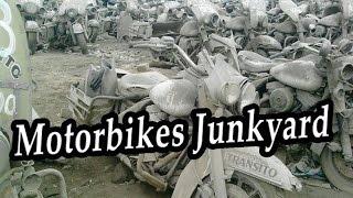 Abandoned Motorbikes Junkyard Found. Abandoned Old Motorcycles. Forgotten Rusty Motorbikes