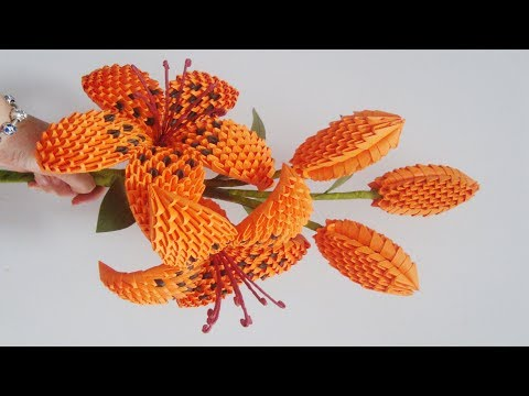 3D Origami Lily Flower V2 Tutorial | DIY Paper Lily Flower Home Decoration