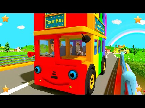 Rainbow Wheels On The Bus | Kindergarten Nursery Rhymes for Kids | Baby Cartoons by Little Treehouse