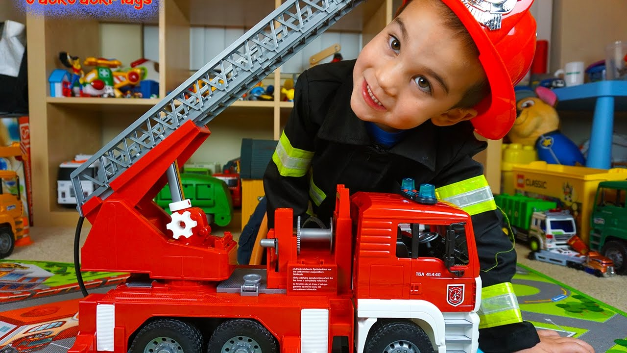 Fire Trucks For Children Bruder Toys Fire Engine Toy Unboxing Kid Playing With Toys