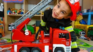 Fire Trucks for Children: Bruder Toys Fire Engine Toy UNBOXING: Kid Playing with Toys | JackJackPlays