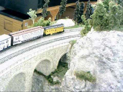 Mountain view of trains at the Redford Model Railroad Club Open House from April 22, 2017