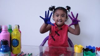 Funny Kids Finger Paint Ishfi Learns Colors with Finger Family Nursery Rhymes