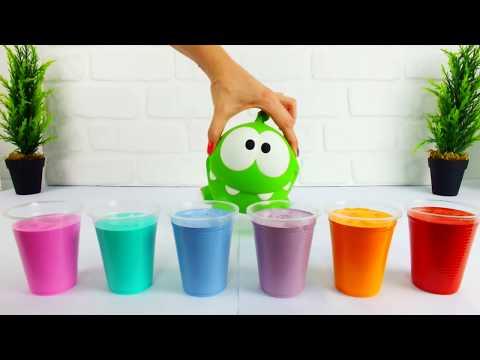 Видео: Ам Ням красит стену. Игры друзей. Цвета и Краски. Видео с игрушками для детей
