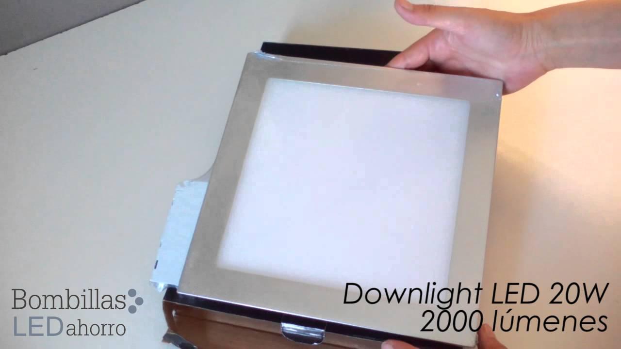 Downlight led extraplano empotrable de 20w plateado youtube for Downlight led extraplano