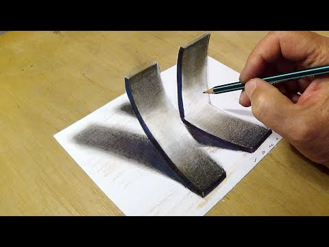 Drawing 3D Letter K - How to Draw K with Charcoal Pencil - Anamorphic Art by Vamos