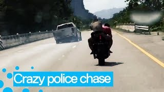 Policeman Teams up with Civilian on Motorbike in High-Speed Chase