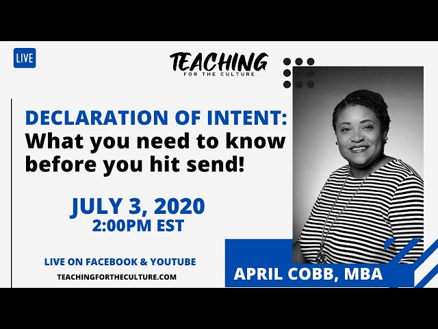Declaration of Intent: What you need to know before you hit send!