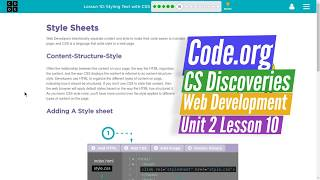 Styling with CSS - Lesson 10.6 - Web Development Code.org CS Discoveries